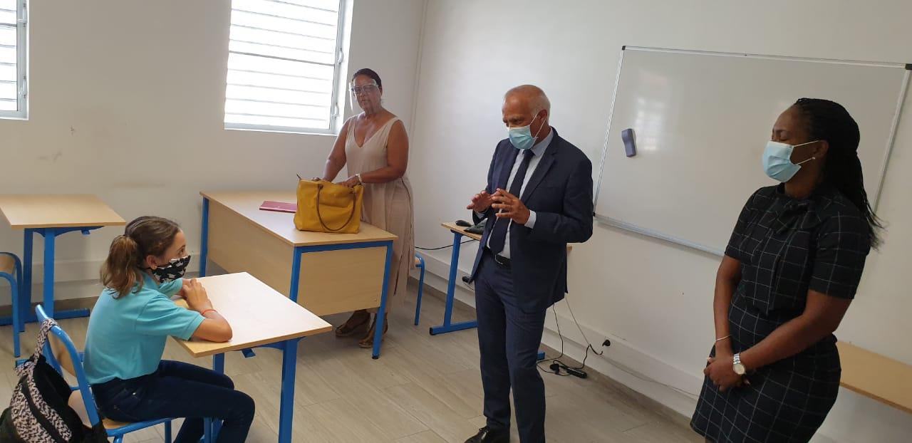 Au collège Soualiga avec le recteur et la 1ère vice-présidente de la COM de Saint-Martin